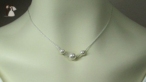 Swarovski Crystal/Simulated Pearl Bridal Necklace - Three Pearl Necklace Sterling Silver Wedding Jewelry - Bridesmaid Gift - Wedding nacklaces (*Amazon Partner-Link)