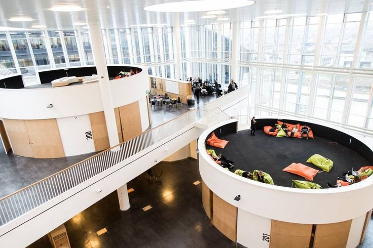 The super-modern Ørestad high school in Copenhagen is technically one giant classroom designed to be an open space.
