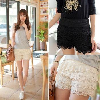 Hotsale Woman Shorts Fashion Cotton Crochet + Mercerized lining Mini Lace Tiered Shorts Hot Selling Pants