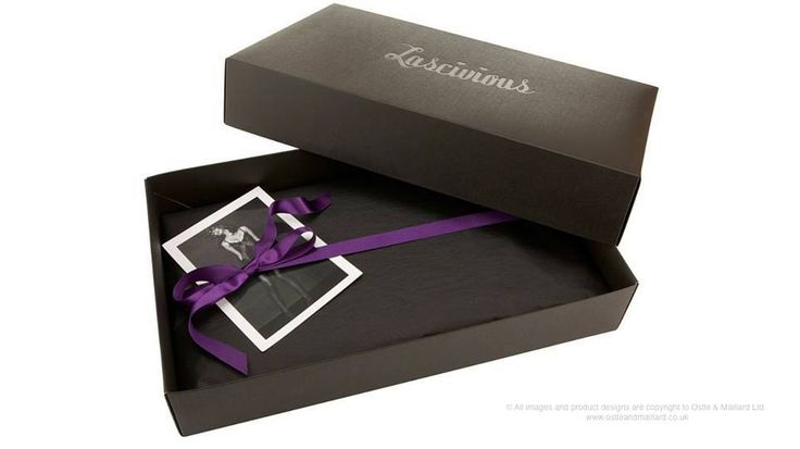 Lingerie lid and base box   This lingerie packaging has been reverse printed solid black onto a box board and foiled with black foil to economically create a stunning end result.