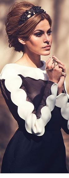 Black and white scallop dress