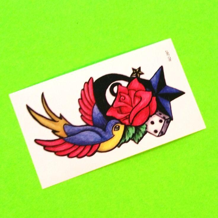 Swallow & Star Temporary Tattoo