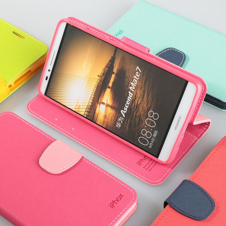 Huawei Mate 7 Pink Wallet Case - Stand Feature: Adjustable Viewing Angles