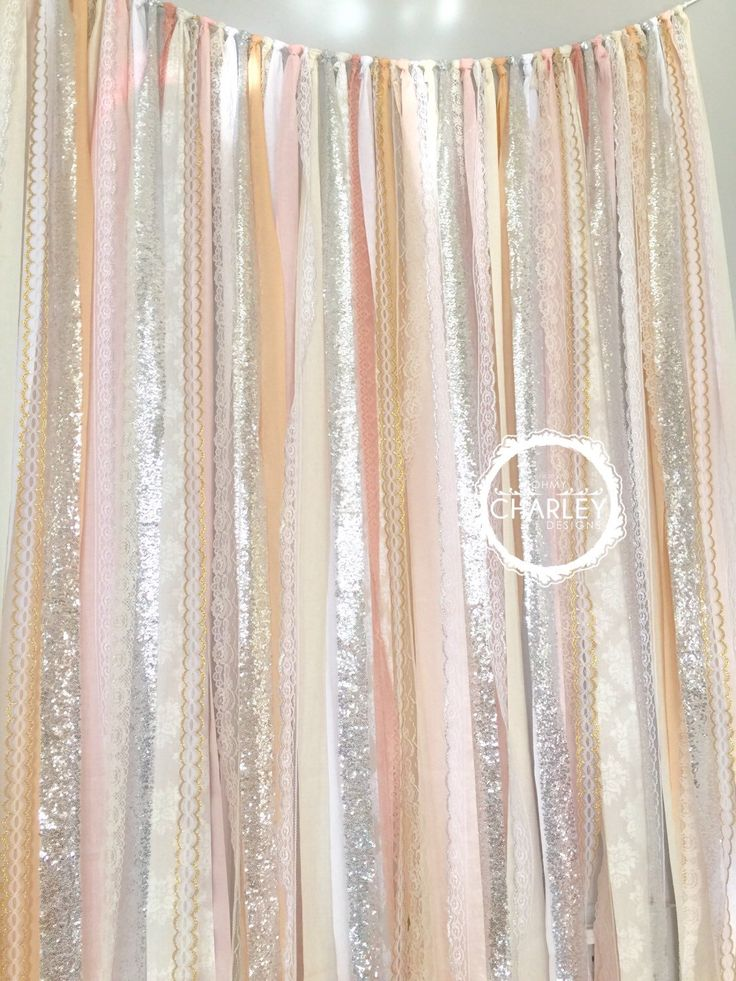 Blush Nude Rose Quartz Peach With Silver Sparkle Sequin Fabric Backdrop Lace Wedding