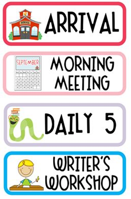 daily schedule cards (free) and 2nd grade back-to-school packet