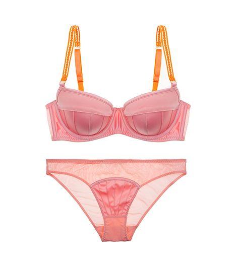 For the Femme Fatale choose: Stella McCartney Cherie Sneezing Balconnet Bra ($70) in Vintage Pink/Papaya / Stella McCartney Cherie Sneezing Bikini ($37) in Vintage Pink/Papaya