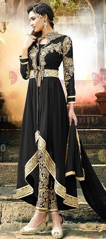 Georgette Party Wear Salwar Kameez in Black and Grey with Patch work