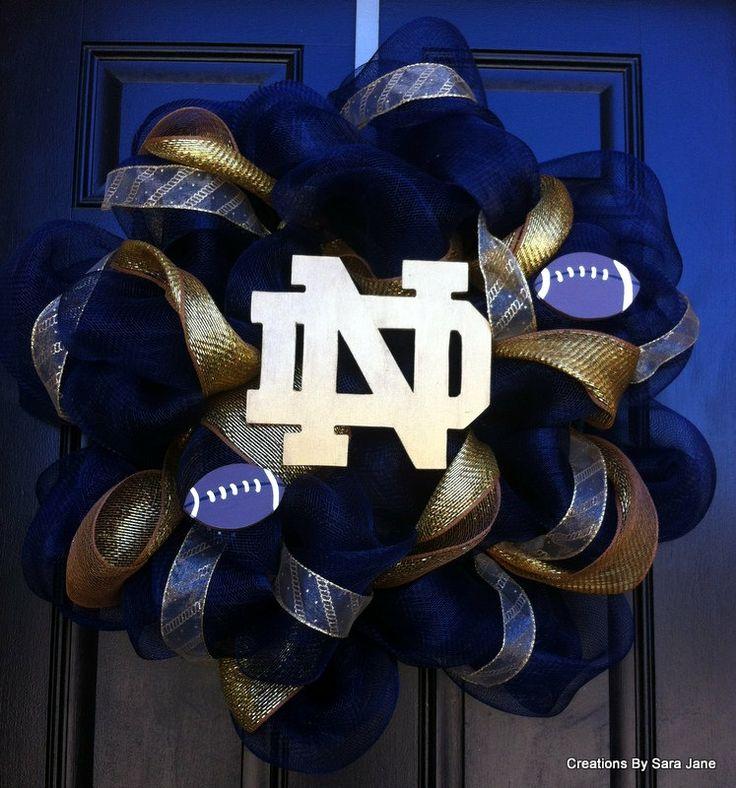 Notre Dame Deco Mesh Wreath - Notre Dame Wreath - Collegiate Wreath. $70.00, via Etsy.