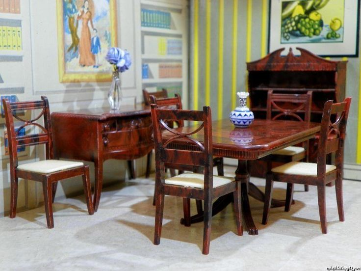 Renwal DINING ROOM SET 9 Pc Vintage Miniature Dollhouse Furniture Ideal  Plastic #Renwal