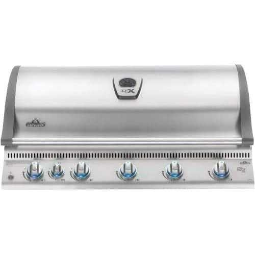 Napoleon BILEX730RBIP Lex 95500 BTU 44 Inch Wide Six Burner Liquid Propane Built-In Grill with Infrared Bottom Burners, Silver stainless steel