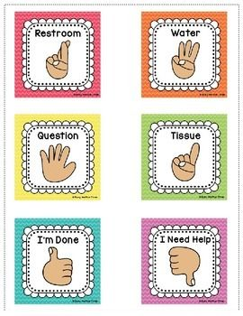 EDITABLE HAND SIGNAL SIGNS, CLASSROOM MANAGEMENT, RAINBOW CHEVRON - TeachersPayTeachers.com
