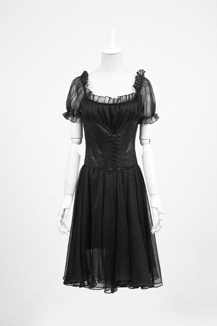 Remis en stock / Back in stock: Robe tunique noire transparent avec serre-taille detachable gothique lolita  Prix: 89.90 #new #nouveau #japanattitude #dresses #robes #gothique #gothic #gothiclolita #burlesque #pyon #lq067 #lolita #femme #noir #coton #spandex