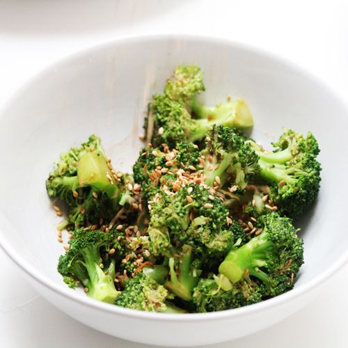 Broccoli salad with miso, ginger and sesame seeds