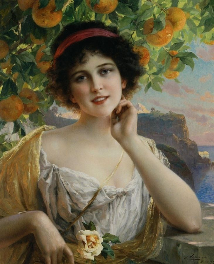 Beauty Under The Orange Tree, by Emile Vernon