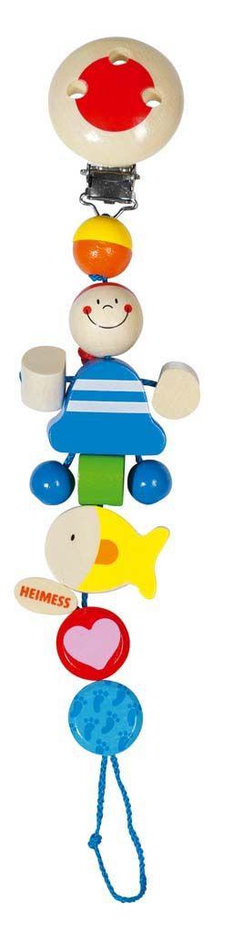 Afmetingen circa 21 cm lang.  Heimess speelgoed is uitvoerig getest en voorzien van het GS keurmerk. Omdat kleine kinderen veel speelgoed in de mond nemen is het belangrijk dat er hoogwaardige materialen gebruikt worden. De verf die Heimess gebruikt is op waterbasis en voor baby;s absoluut niet giftig en ongevaarlijk.Eventuele metaaldelen zijn van roestvrijstaal dat geen nikkelallergie kan veroorzaken. - Heimess speenketting Piraat