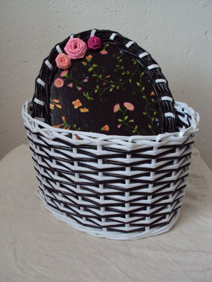 Basketry - black and white paper basket