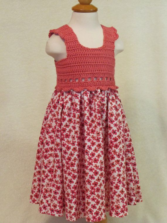 Baby dress with crochet bodice  coral pink & by FeathersnFrocks