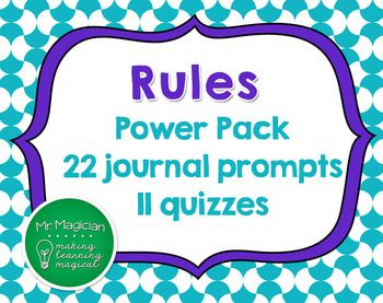 Rules by cynthia lord power pack 22 journal prompts and 11 quizzes