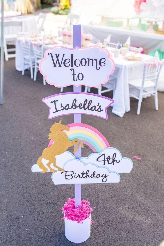 Rainbow unicorn welcome sign from a Magical Unicorn Birthday Party on Kara's Party Ideas   KarasPartyIdeas.com (31)