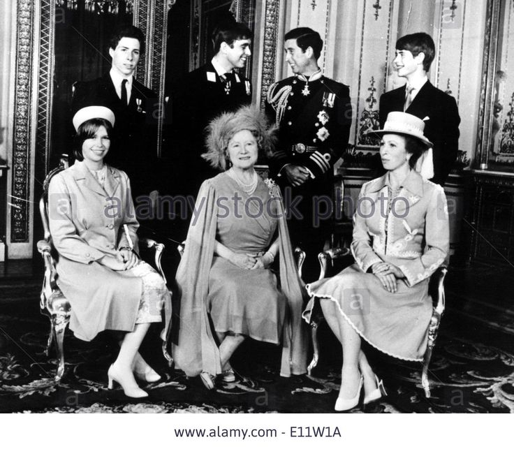 15th July 1980--The Queen Mom with her grandchildren Stock Photo