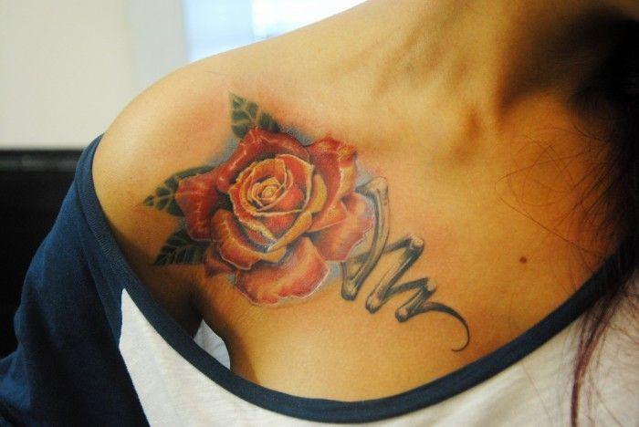shoulder 3d red rose tattoo designs