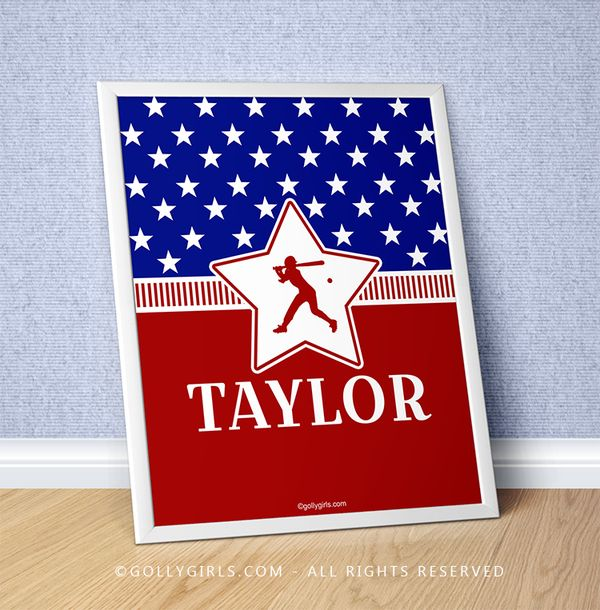 "Golly Girls: Personalized Patriotic USA Softball 16"" x 20"" Poster only at gollygirls.com"