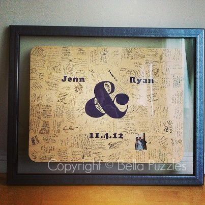Fun and modern wedding guest book alternative! WOOD puzzle by Bella Puzzles. Frame it after the wedding for display in your home.