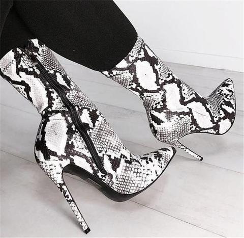 Snake Print Zipper Stiefeletten High Heels Schuhe …