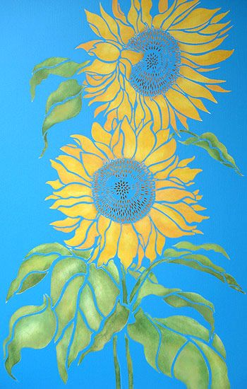 Large Sunflowers Stencil