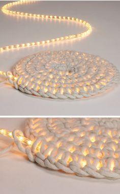 LED Lichterkette umhäkeln als Teppich schoenstricken.de