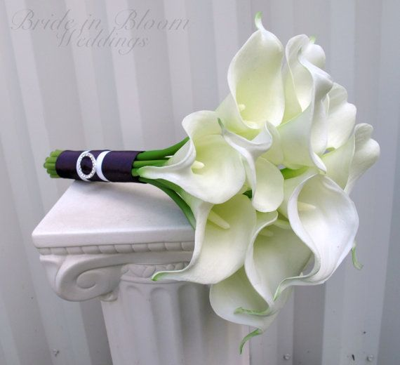 Bridesmaid bouquet White Calla lily by BrideinBloomWeddings