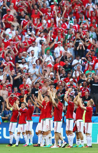 #EURO2016 Hungary players and supporters celebrate winning the group F and going through to the knockout stage after their 3-3 draw in the UEFA EURO 2016 Group...