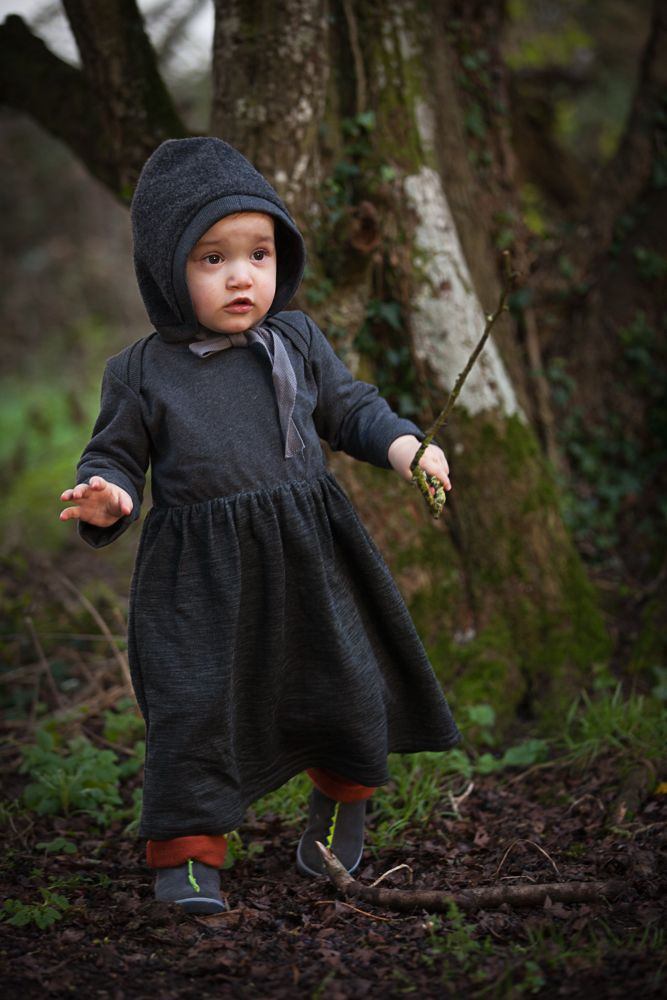 AAMcEvoy AW17 collection   Bonnet 100% Organic Virgin Wool     |Long sleeved dress in Charcoal- Chest and sleeves in 100%Organic cotton, Skirt in 64%organic wool/36%Organic cotton     Harem pants in Henna- 100% organic cotton  |MADE IN IRELAND|