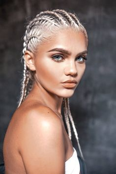 Silver blonde corn rows