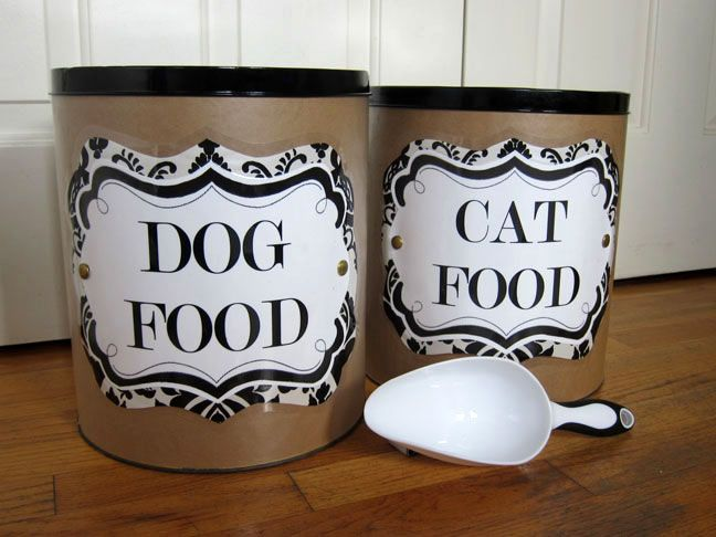 Dog and cat food containers out of those giant popcorn things you get for Christmas -- need these to keep cat & kitten food separate.