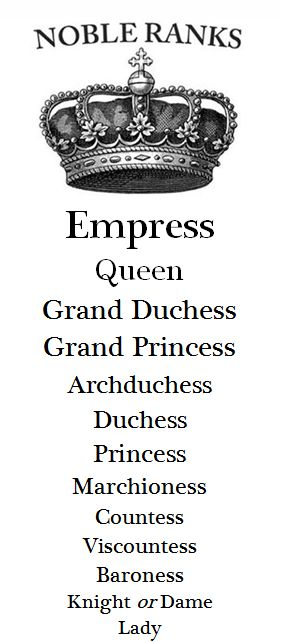 So that's why I've never felt like much of a Queen, I'm an Empress! Explains so much now :) ::: Guide to Noble Ranks - Female