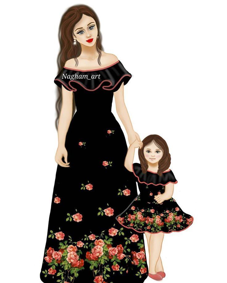 صور بنات كرتون حزينه رومانسيه رمزيات انمي كرتونيه Mother Daughter Art Baby Girl Drawing Beautiful Girl Drawing