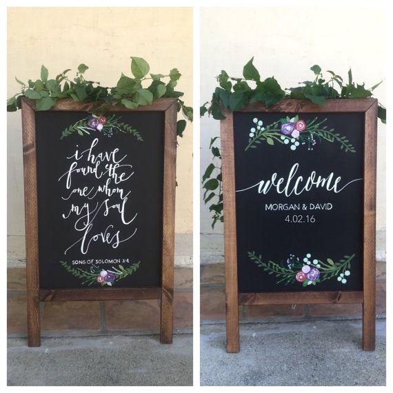 """Bienvenue signe de mariage, double panneau """"sandwich"""" face ardoise"""