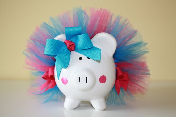 Hot Pink And Turquoise Polka Dot Piggy Bank With by Swoopadaisies, $15.00
