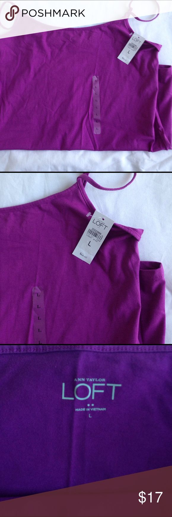 New Ann Taylor LOFT Purple Cami Top Women's Size L New Ann Taylor LOFT Purple Cami Top Women's Size Large, 95% Cotton 5% Spandex Stretch.  MSRP $22.99.   New With Tags. Ann Taylor LOFT Tops Camisoles