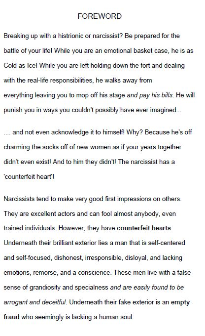 Breaking up with a narcissist support - leaving a histrionic man with narcissism