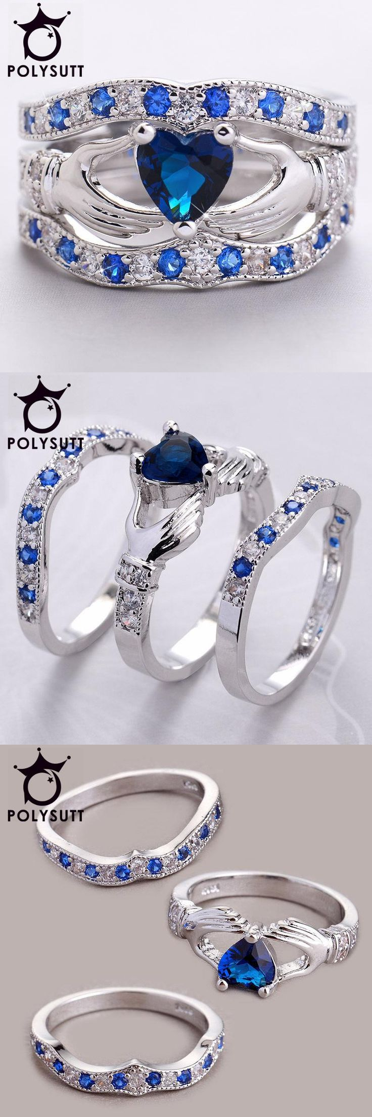 [Visit to Buy] Holding the Created love Heart AAA+ CZ Crown Wedding Ring Sets Silver Color Blue Crystal Irish Claddagh Rings 3pcs/set #Advertisement