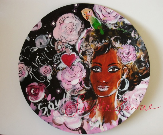 This was painted for a Danish Company PureCulture. Bamboo plate.