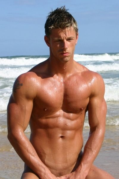 Hot Sexy Nude Muscle Men Guys Pecs Abs Arms Beach Naked -9773