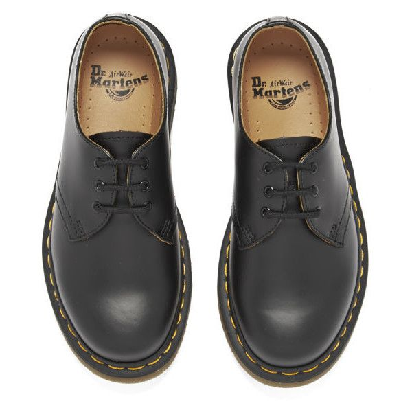 Dr. Martens Unisex Originals 1461 3-Eye Smooth Leather Gibson Shoes -... (€125) ❤ liked on Polyvore featuring shoes, boots, short heel shoes, low heel shoes, black low heel shoes, dr martens shoes and dr martens footwear