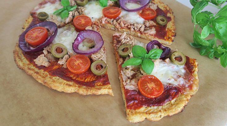 Túró alapú tonhalas pizza