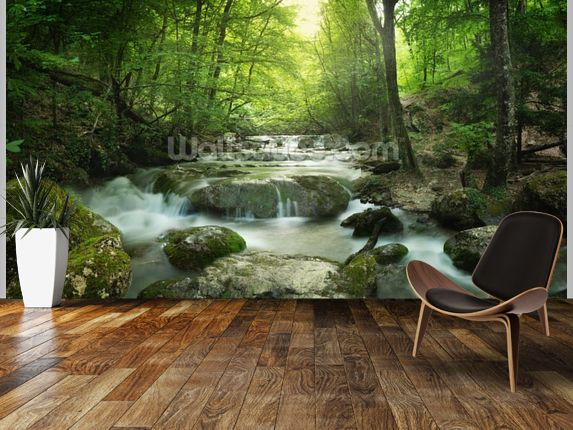 Enchanting Forest Waterfall Wall Mural Part 86