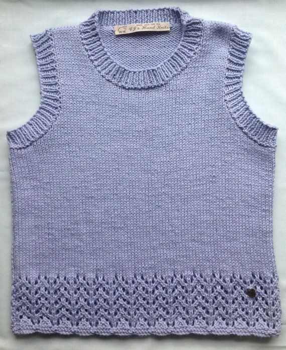 Girls Cotton Top Tank Top Sleeveless With Lace by CJsHandknits on Etsy