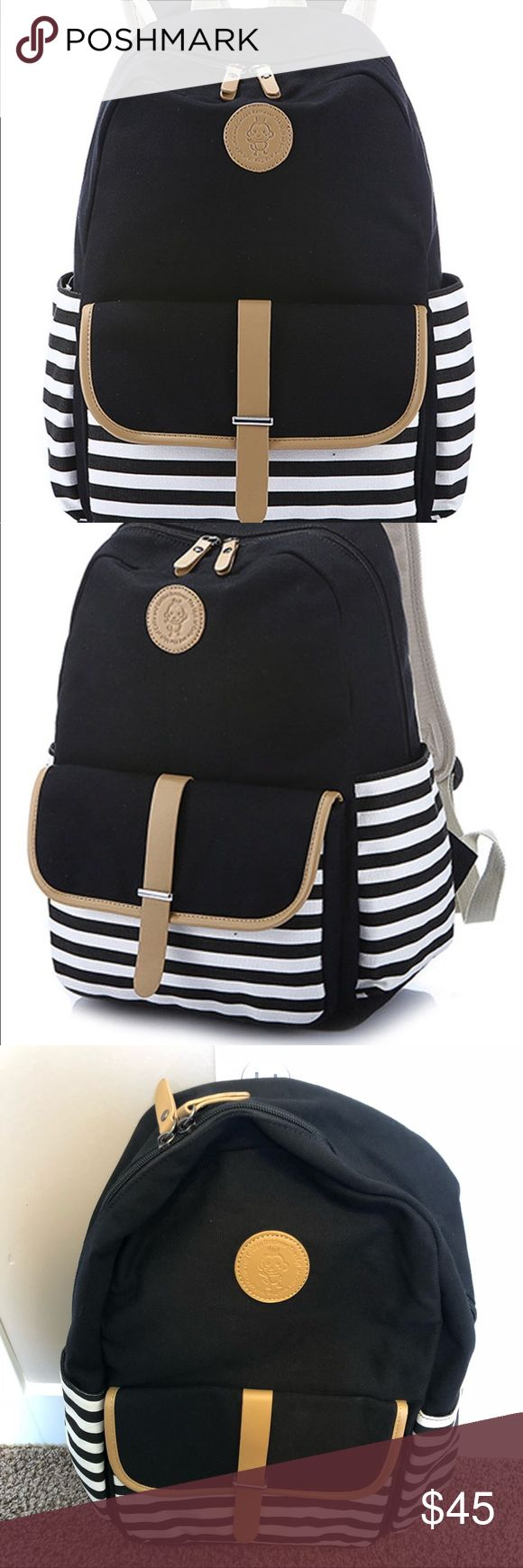 🆕 Ofeily - Black and White Stripe Canvas Backpack Black and White Striped Canvas Backpack - Ofeily Brand - Perfect for a backpack, diaper bag, weekend bag, purse, hiking, or every day wear!  Details: One main pack with laptop compartment, two sides pockets, one front pocket. Can fit 14 inch Laptop. Attribute: Durable, adjustable shoulder straps. Size: 13.8*17.7*6.7 in (L*H*W). With lots of pockets within the main compartment, which can carry all of your necessities around you.ike new…