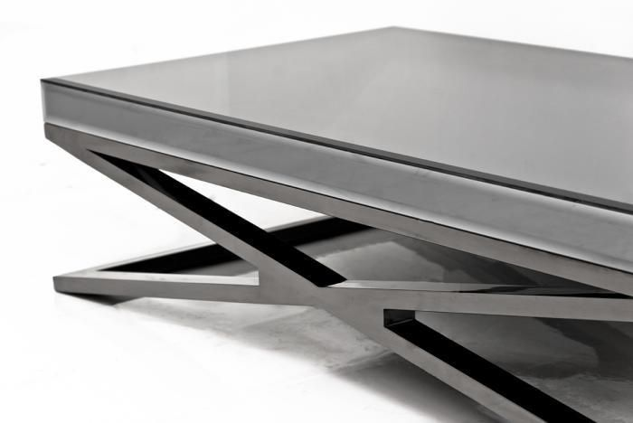 x-leg coffee table in fat black chrome and smoked mirror coffee table